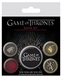 Game Of Thrones Houses stark lannister new Official 5 X button Badge PackSize: One Size Badges