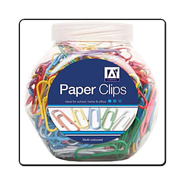 Pot of 200 A-Star Multi Coloured Paper Clips Multi Format and Universal