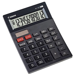 Canon AS-120 Dark Grey Simple Hand Held Calculator 12 Digit Display (CANAS120HB) Multi Format and Universal