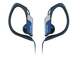 Panasonic Sport type headphone, blue IPX2, water resistant, w. elastomer hook, microfone. In-ear, c Multi Format and Universal