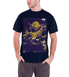 Star Wars T Shirt DJ Yoda Official Mens New BlueSize: S Clothing