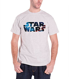 Star Wars T Shirt Vintage Space Logo Official Mens New GreySize: S Clothing