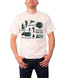 Star Wars T Shirt Force Awakens Heroes BB-8 Finn rey Official Mens New WhiteSize: XL XL