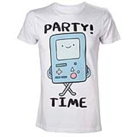 ADVENTURE TIME Adult Male Beemo Party Time! T-Shirt, Large, White (TS280003ADV-L) Clothing