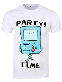 Adventure Time BMO Party Time Men's White T-shirt: Extra Large (Mens 42- 44) Clothing