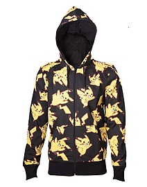 Pokemon Hoodie Pikachu All Over Official Mens Black Zipped L Clothing