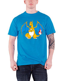 Pokemon Charizard Flame Anime Character Mens Blue XL Clothing