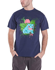 Pokemon bulasaur Poison Seed Splatter Official Mens Navy M Clothing