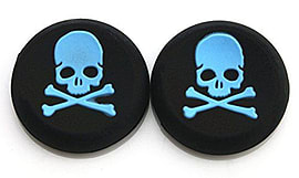 2 BLUE Skull Bones Silicone Thumb Stick Grips for XBOX ONE / 360, PS3 and PS4 Multi Format and Universal