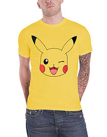 Pokemon T Shirt Pikachu Winking new Official Mens YellowSize: XL Clothing
