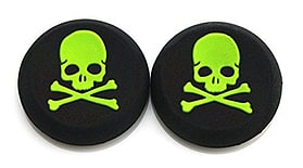 GREEN Skull and Bones Silicone Thumb Grips for XBOX ONE / 360, PS3 and PS4 screen shot 1
