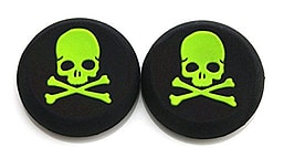 GREEN Skull and Bones Silicone Thumb Grips for XBOX ONE / 360, PS3 and PS4 XBOX ONE