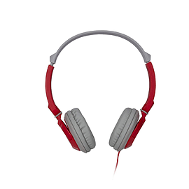 Light Weight Over Head On Ear Wired Stereo Headphones with Mic - Red Multi Format and Universal