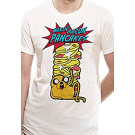 Adventure Time- Pancakes Unisex White T-Shirt Small Clothing
