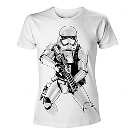 Star Wars VII The Force Awakens Adult Male Armed Stormtrooper Sketch X-Large White T-Shirt Clothing