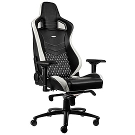 noblechairs EPIC Real Leather Gaming Chair - Black/White/Red Multi Format and Universal