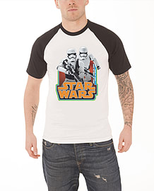 Star Wars T Shirt Stormtroopers vintage logo new Official Mens White Raglan Size: XL Clothing