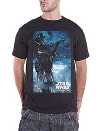 Star Wars T Shirt Rogue One Death Trooper new Official Mens Black Size: Large Clothing