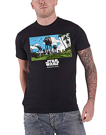 Star Wars T Shirt Rogue One AT-AT March new Official Mens Black Size: XL Clothing