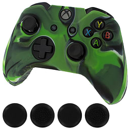 ZedLabz silicone rubber skin grip cover & thumb grip pack for Xbox One controller - camo green XBOX ONE