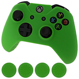ZedLabz silicone rubber skin grip cover & thumb grip pack for Xbox One controller - green XBOX ONE