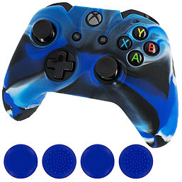 ZedLabz camo blue silicone rubber skin grip cover & blue thumb grip pack for Xbox One controller XBOX ONE