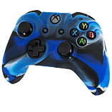 ZedLabz silicone rubber skin grip cover & thumb grip pack for Xbox One controller - camo blue screen shot 1