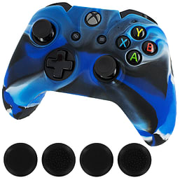 ZedLabz silicone rubber skin grip cover & thumb grip pack for Xbox One controller - camo blue XBOX ONE