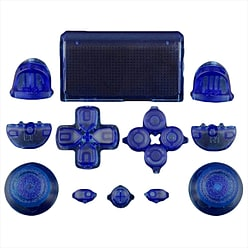 ZedLabz full replacement button set mod kit for 1st gen Sony PS4 controllers - transparent blue PS4