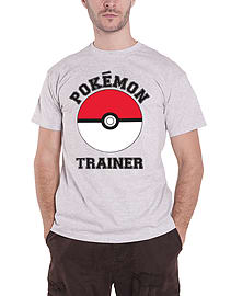Pokemon T Shirt Trainer Poke Ball Catch Em All Logo Official Mens New Grey Size: Small Clothing