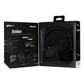 Fusion Wireless Bluetooth or Wired Stereo Headphones Black Multi Format and Universal