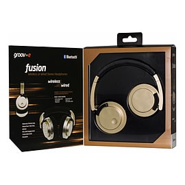 Fusion Wireless Bluetooth or Wired Stereo Headphones Gold Multi Format and Universal