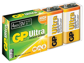 GP Ultra Alkaline 6LR61 9V High Performance Batteries for Toys & more - 4 Pack Multi Format and Universal