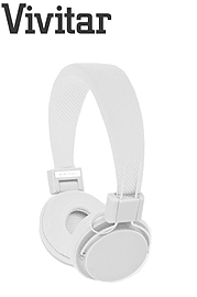Vivitar Neon-Int Children's Kids Headphones for Smartphones/MP3 & more - White Multi Format and Universal