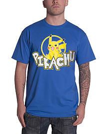 Pokemon T Shirt Smiling Pikachu new Official Nintendo Mens Blue Size: XL Clothing