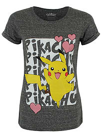 Pokemon Pikachu Love Grey Women's PKMN T-shirt: Skinny Fit Medium (UK 10 - 12) Clothing
