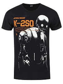 Star Wars Rogue One K-2S0 Black Men's T-shirt: Small (Mens 36 - 38) Clothing