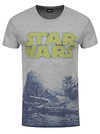 Star Wars Rogue One Ground Battle All Over Print Grey Men's T-shirt: Small (Mens 36 - 38) Clothing