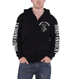 Sons of Anarchy Zipped Hoodie Scroll Reaper Logo SOA Official Mens New Black Size: XL Clothing