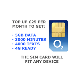 O2 Pay As You Go 5GB Big Bundle SIM Card Mobile phones