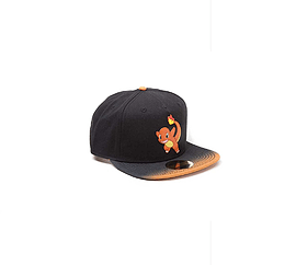 Pokemon Baseball Cap Charmander rubber patch dip dye new Official Black SnapbackSize: Clothing