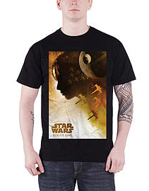 Star Wars T Shirt Rogue One Jyn Silhouette new Official Mens Black Size: Large Clothing