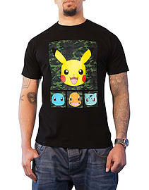Pokemon T Shirt Pikachu And Friends new Official Mens Camo Black Size: Small Clothing