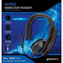 Gioteck XH50 Wired Mono Gaming Headset Blue (PS4/XBOX One/PC) PS4