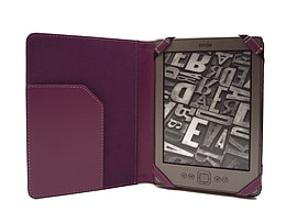 PU Leather Folio Flip Wallet Case Cover for Kindle 4 6 inch eReader - Purple E-Readers