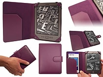 PU Leather Folio Flip Wallet Case Cover for Kindle 4 6 inch eReader - Purple screen shot 1