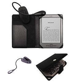 PU Leather Folio Wallet Case with Clip on Light for Kindle 4 6 inch eReader - Black E-Readers