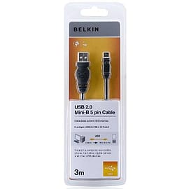 Belkin 3m USB 2.0 A-miniB Cable, USBA-5-pin MiniB - Charcoal Multi Format and Universal