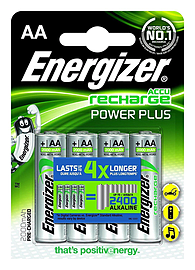 Energizer AA Pre-Charged Power Plus ACCU Rechargeable 2000MAH Batteries - 4 Pack Multi Format and Universal