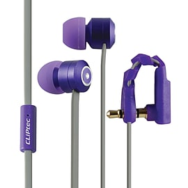 CLiPtec® Urban Curve Deep Base Noise Isolating Earphones Anti Tangle/Bend Purple Audio